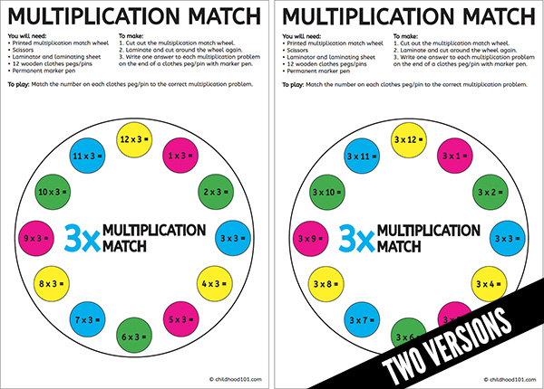 Printable Times Tables Matching Wheels