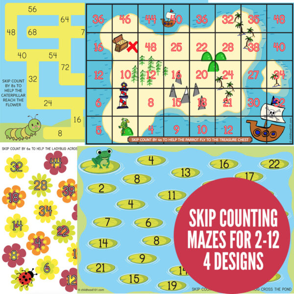 Printable skip counting mazes activity